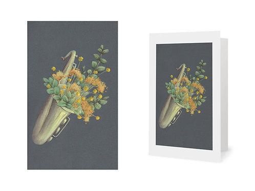 Carte de vœux - saxophone fleuri