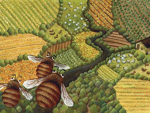 carte - abeilles et paysage
