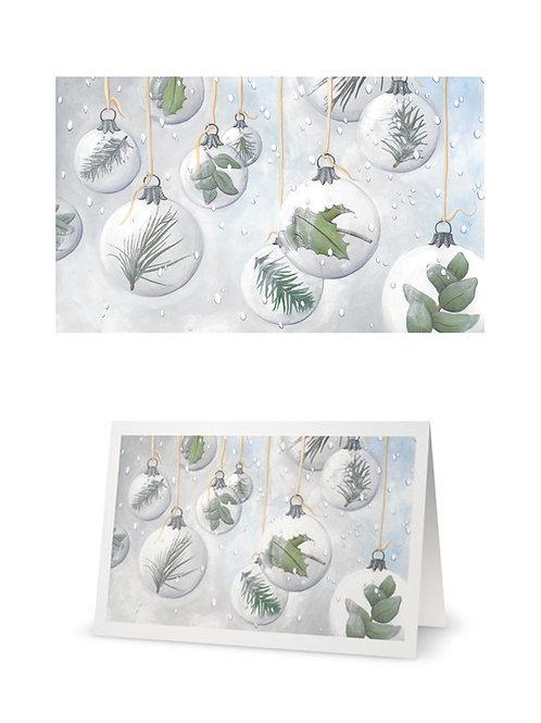 Carte de vœux - boules, neige et feuilles