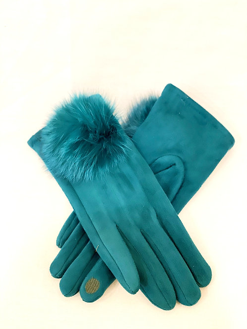 Turquoise Fur Gloves