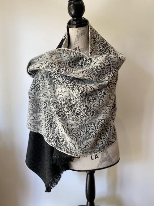 Black + White Wool Lace Scarf