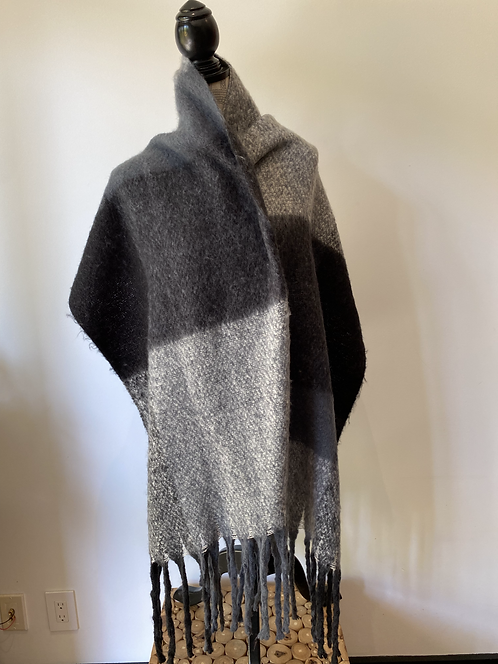 Grey + Charcoal Large Check Scarf