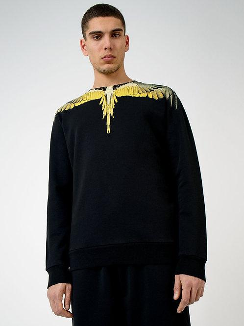 Sweatshirt noir Wings jaunes, MARCELO BURLON