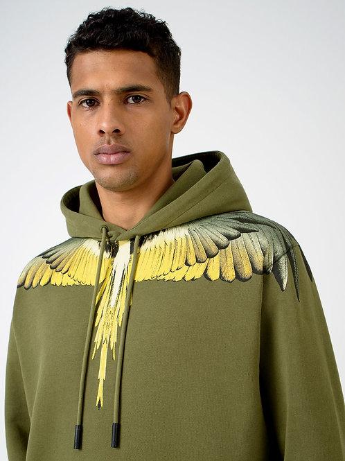 Sweatshirt á capuche kaki Wings jaune, MARCELO BURLON
