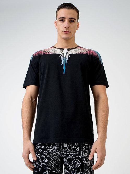 T-shirt noir Wings bordeaux, MARCELO BURLON