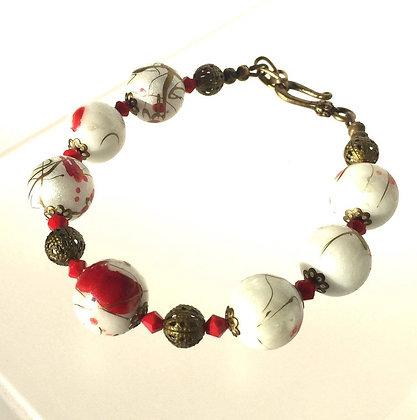 EAST MEETS BRASS Painted Bead & Crystal Bracelet