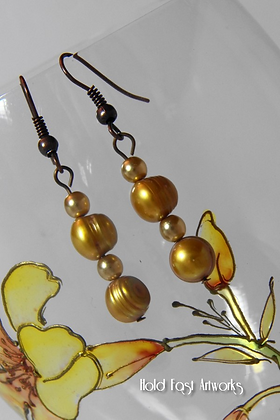 """""""Golden Pearls"""" Earrings"""