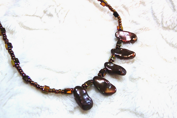 CHOCOLATE DROPS Keshi Pearl Necklace