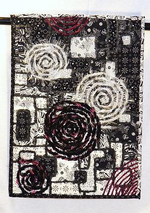 BLACK & WHITE WITH A SPLASH Fiber Art Wall Piece