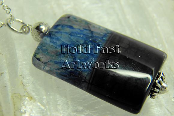 BLACK & BLUE ACROSS  Stone Pendant