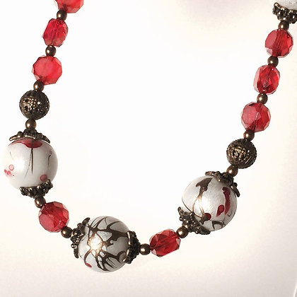 EAST MEETS BRASS Painted Bead & Crystal Necklace