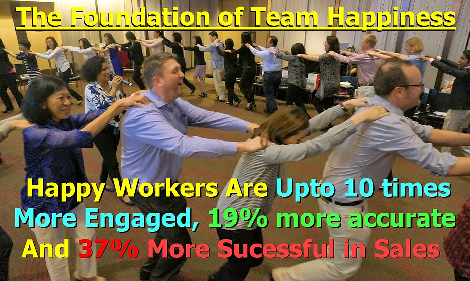 team building happy workers, more engaged, accurate, successful in sales, motivated