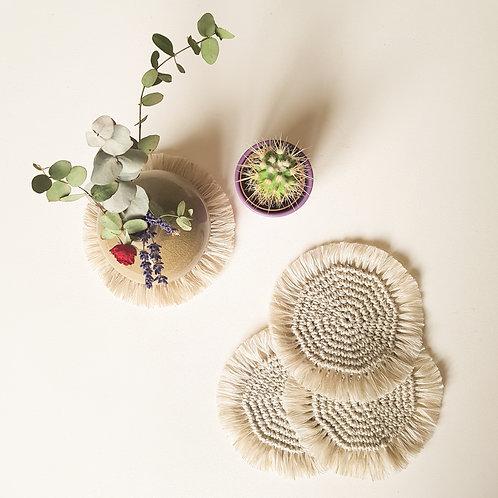 Crochet hemp coasters - set of 2