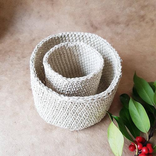 Crochet hemp mini basket - set of 2