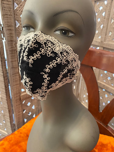 black mesh cream embroidery mask