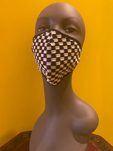Black and White Checker Face Mask