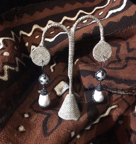 Pearl & Grey Crystal Drop Earrings