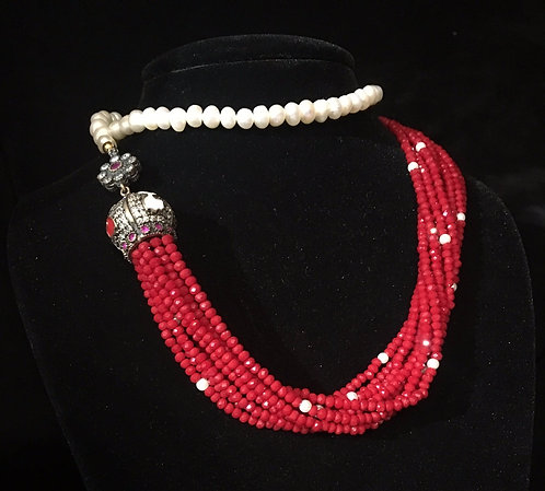 Turkish Alluring Ruby & Pearl Bead