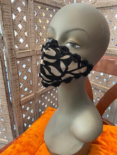 cream mesh and black rose mask