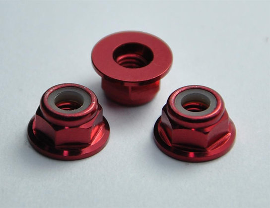 MAX 3 mm Flanged Lock Nut ( 10 pcs ) Red