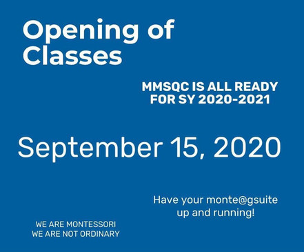 Opening of Classes