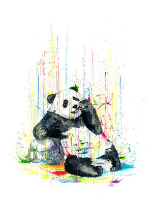 PANDA - RAINING COLOURS *Limited Edition Giclée Print on Watercolour Paper - 300gsm.