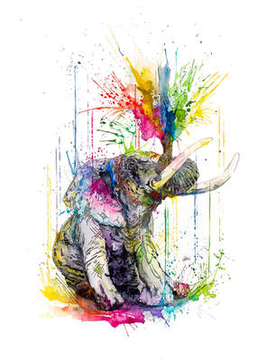 ELEPHANT - RAINING COLOURS *Limited Edition Giclée Print on Watercolour Paper - 300gsm.