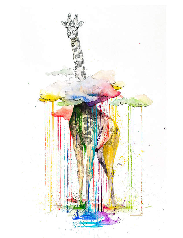 GIRAFFE - RAINING COLOURS *Limited Edition Giclée Print on Watercolour Paper - 300gsm.