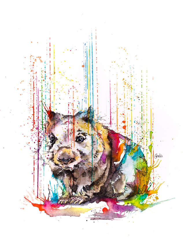 WOMBAT - RAINING COLOURS *Limited Edition Giclée Print on Watercolour Paper - 300gsm.