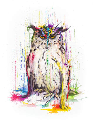 OWL - RAINING COLOURS *Limited Edition Giclée Print on Watercolour Paper - 300gsm.