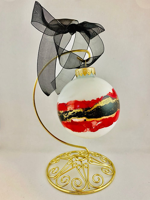 """The Classic 3"""" Bauble:  RED LADY-  HAND PAINTED ORNAMENT"""