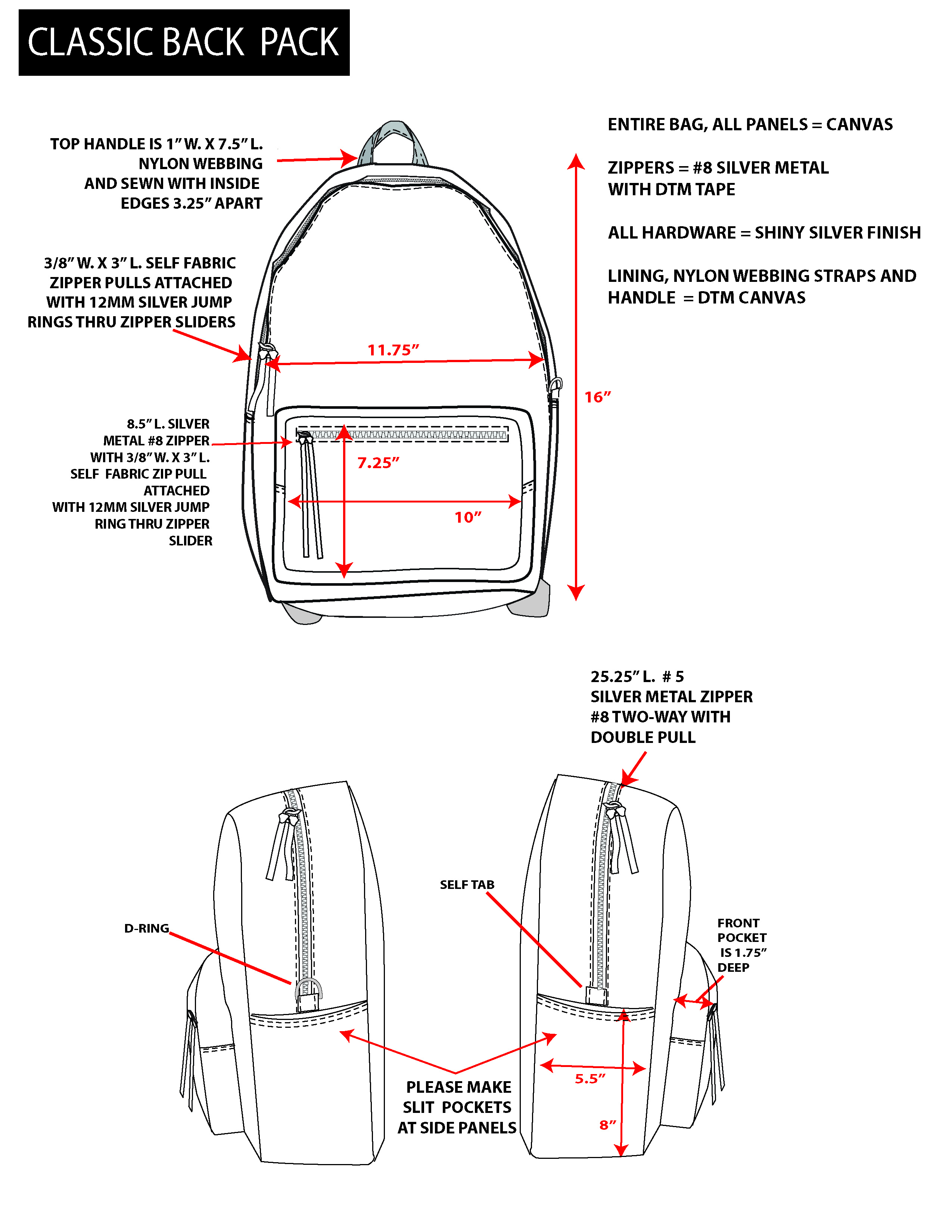 Back Pack Technical Sketch