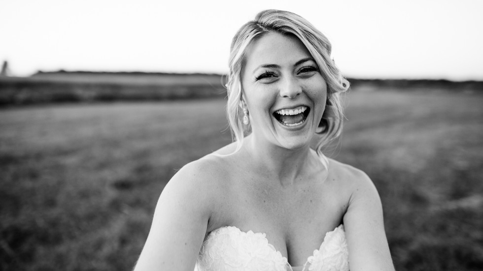 A bride radiates pure joy