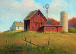 Red Barns on Hill