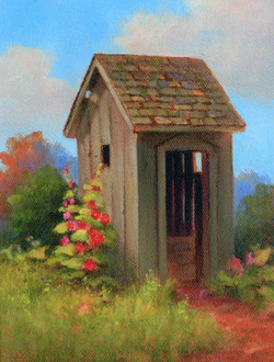 Outhouse with Hollyhocks