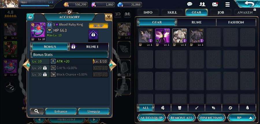 Shining Beyond Gameplay Hero equipment upgrade