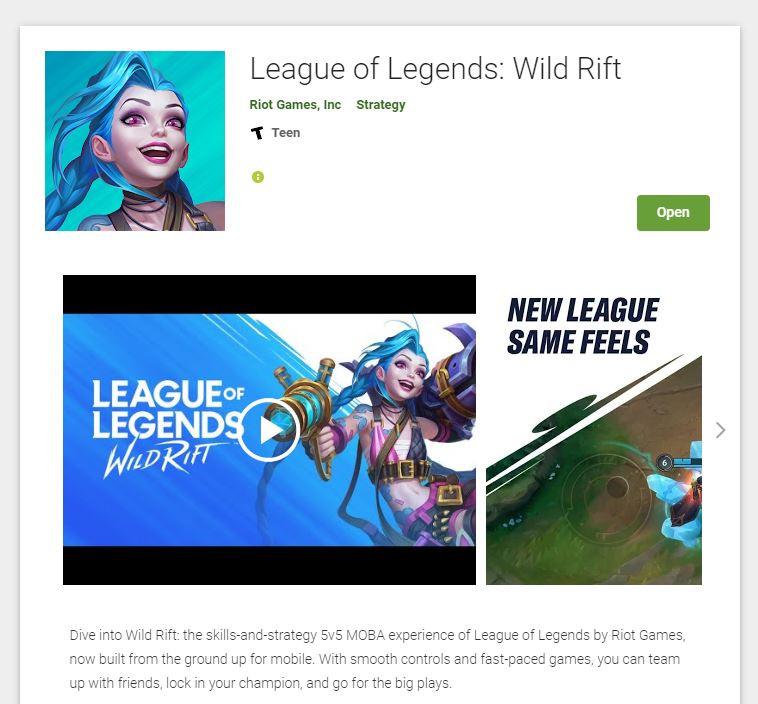 Play Wild Rift Open Beta on Google Play Store