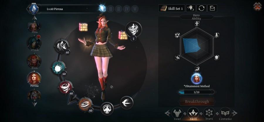 Raziel_ Dungeon Arena - Pirossa Flame Tornado Build - Skills