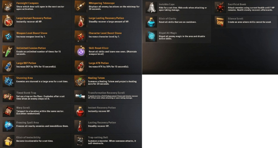 A3 Still Alive Battle Royale All Item Consumable List