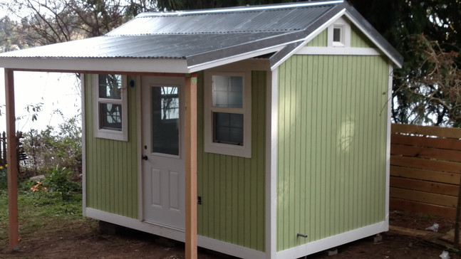 M. Craftman Style Shed with Covered Patio