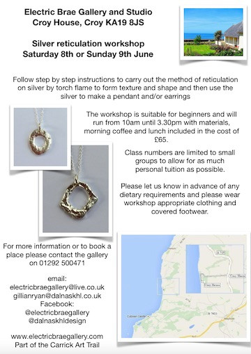 Silver Reticulation Workshop Saturday 8th, Sunday 9th June
