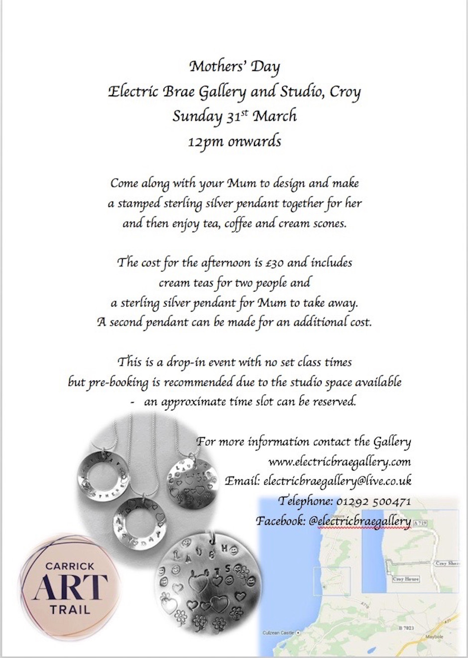 Silver Pendant Workshop                 Sunday 31st March