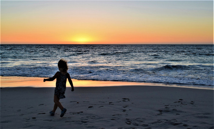 Silhouette on the Ocean shore