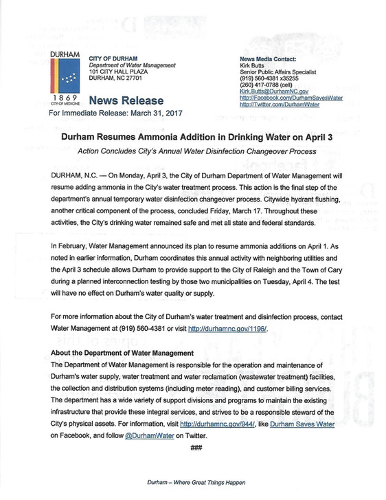Durham Resumes Ammonia Water Additive