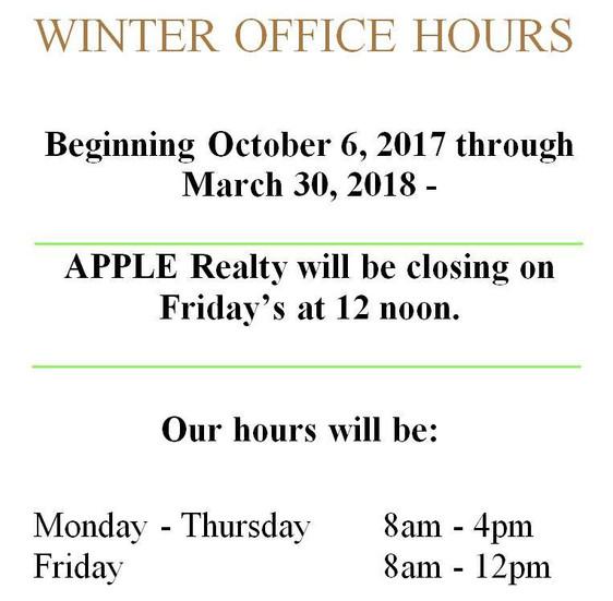 Announcing Winter Hours Schedule