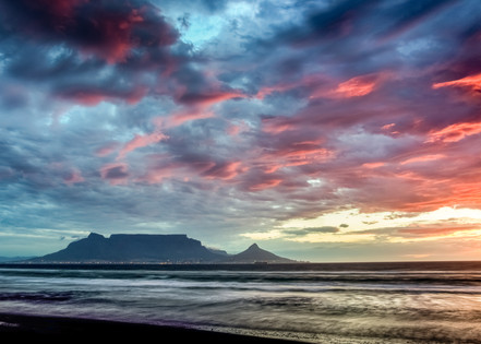 Table Mountain sunset pink