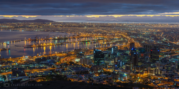 Cape Town city bowl at night