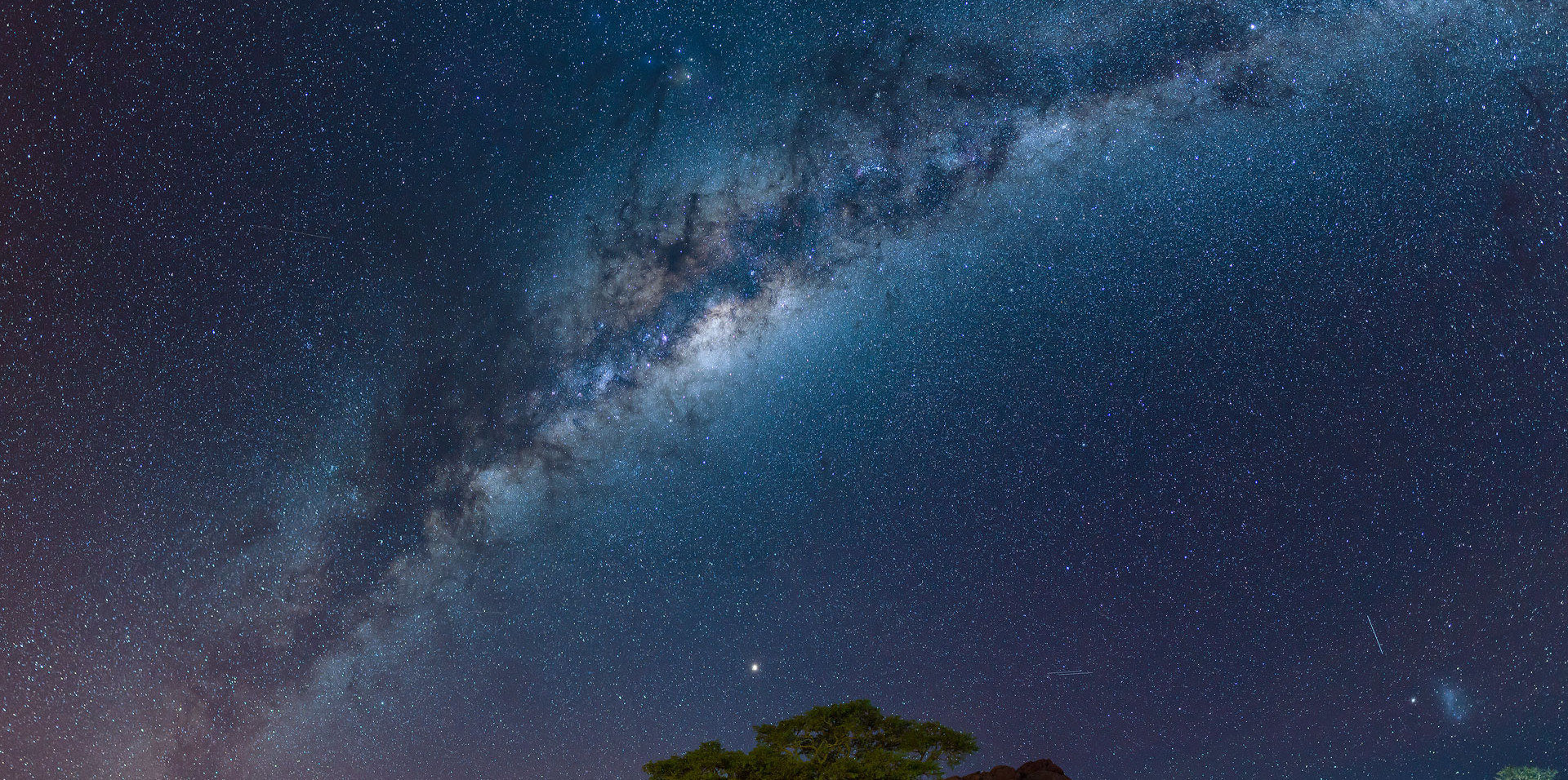 Milky way over campsite