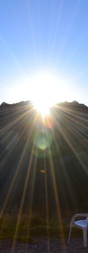 Lever de soleil vue de la porte d'entrée