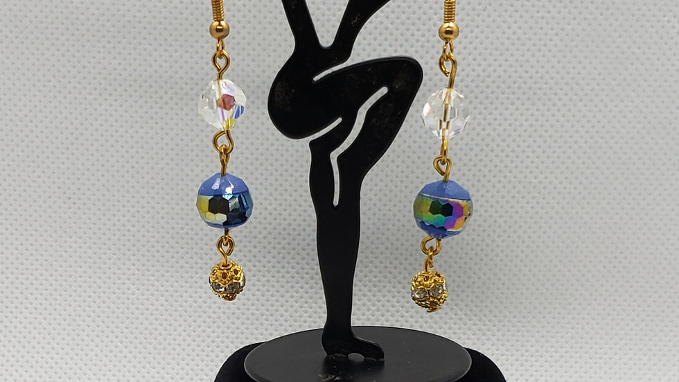 Sparkly Blue bead and Gold Dangle Earrings